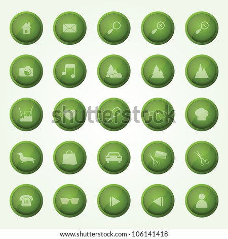 Green glossy Icon Set for web design. Eps10 vector