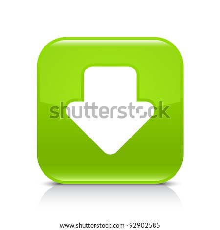 Green glossy internet button with arrow download symbol. Rounded square shape icon with shadow and reflection on white background. This vector illustration created and saved in 8 eps