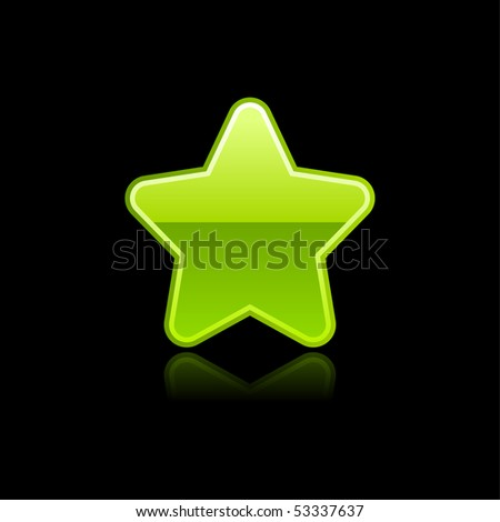 Green glossy star icon web internet button with color reflection isolated on black background