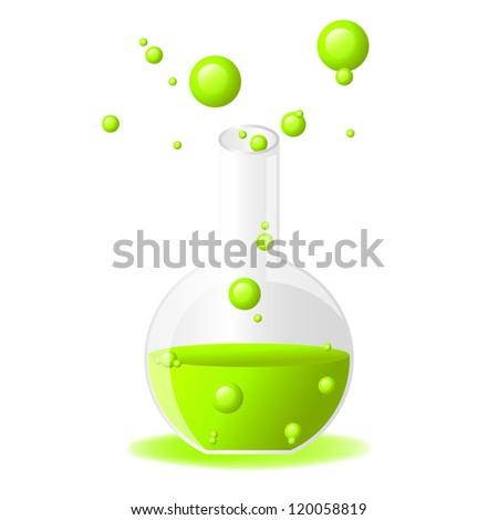 Green glossy test tube icon on white background, eps 10