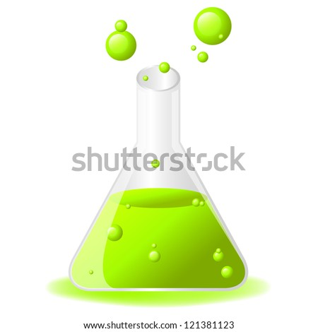 Green glossy test tube icon on white background, eps 10