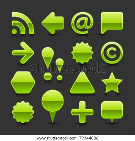 Green glossy web button set with black drop shadow and dark reflection on gray background