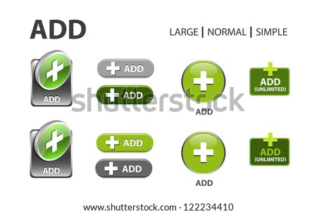 green glossy web button with add sign. Rounded square shape icon with shadow