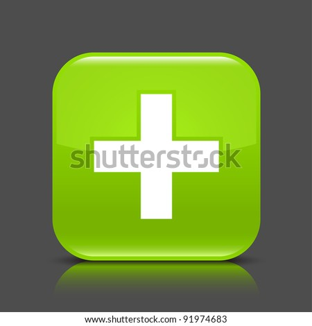 Green glossy web button with addition sign. Rounded square shape icon with black shadow and colored reflection on dark gray background. This vector illustration created and saved in 8 eps