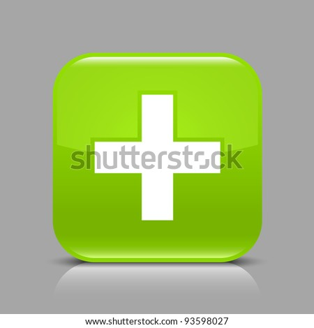 Green glossy web button with addition sign. Rounded square shape icon with black shadow and light reflection on gray background. This illustration saved in 8 eps. See more buttons in my gallery