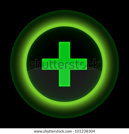 Green glossy web button with addition sign. Shape icon on black background. 10 eps