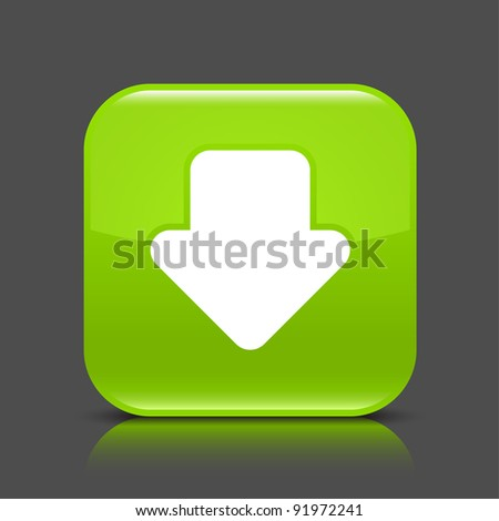 Green glossy web button with arrow download sign. Rounded square shape icon with black shadow and colored reflection on dark gray background. This vector illustration created and saved in 8 eps