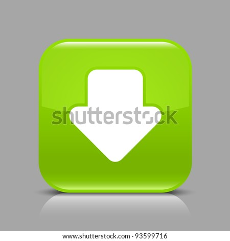 Green glossy web button with arrow download sign. Rounded square shape icon with black shadow and light reflection on gray background. This vector saved in 8 eps. See more buttons in my gallery