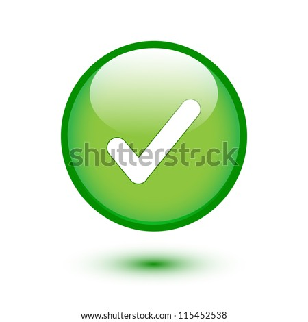 Green glossy web 2.0 button with check mark sign on white