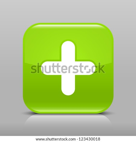 Green glossy web button with plus sign. Rounded square shape icon with shadow and reflection on light gray background. This vector illustration web design element saved in 8 eps