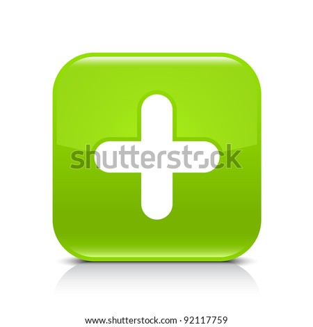 Green glossy web button with plus sign. Rounded square shape icon with shadow and reflection on white background. This vector illustration created and saved in 8 eps