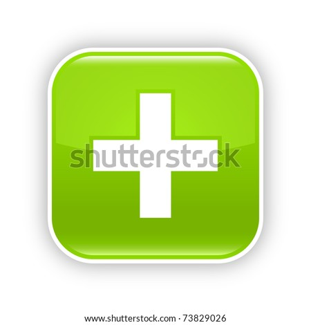Green glossy web 2.0 button with plus sign. RRounded square sticker with shadow on white. 10 eps