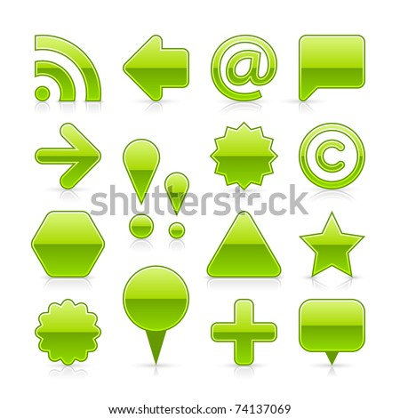 Green glossy web button with shadow and reflection on white background