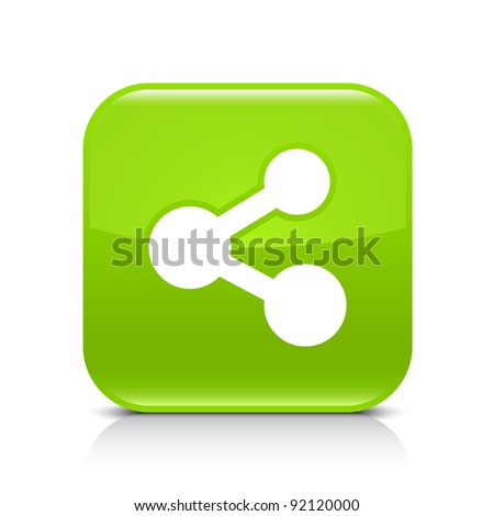 Green glossy web button with share sign. Rounded square shape icon with shadow and reflection on white background. This vector illustration created and saved in 8 eps