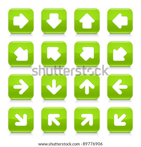 Green glossy web button with white arrow sign. Rounded square shape internet icon with shadow and reflection on white background. This vector illustration saved in 8 eps