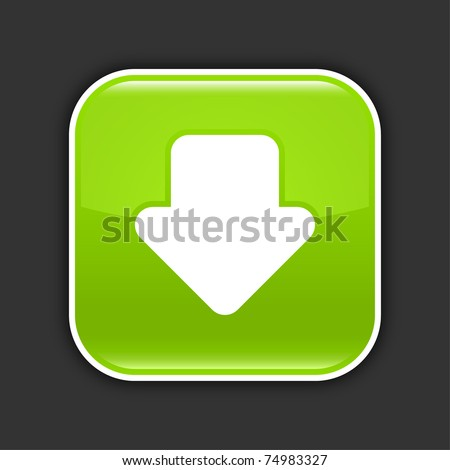 Green glossy web 2.0 icon with download arrow sign. Rounded square button with shadow on gray. 10 eps
