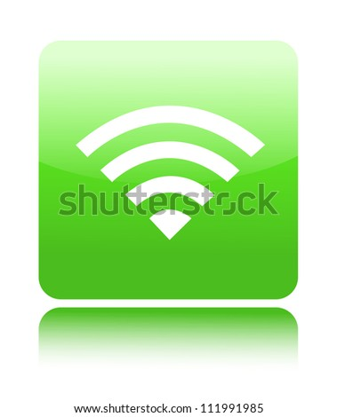 Green glossy wireless of wifi button sign (open wifi or wireless sign)