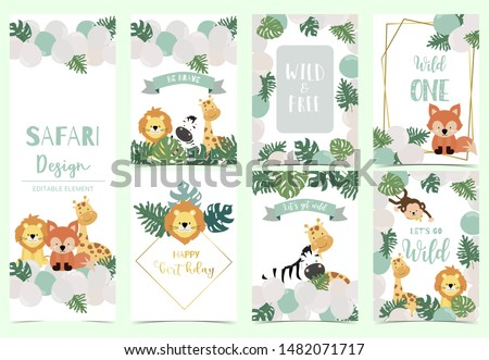 Green,gold animal collection of safari background set with lion,fox,giraffe,zebra,geometric vector illustration for birthday invitation,postcard,logo and sticker.Wording include wild one,wild and free