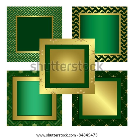 green golden decorative frames - vector