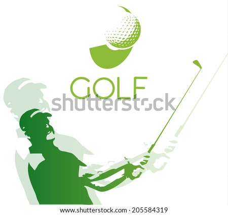 Green golf icons silhouette isolated on white vector illustration