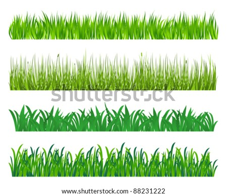 Green grass and field elements isolated on white background. Jpeg version also available in gallery