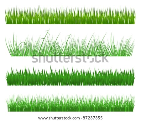 Green grass and field patterns isolated on white background. Rasterized version also available in gallery