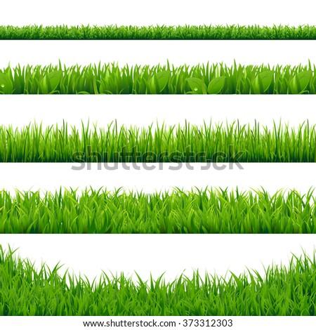 Green Grass Big Set, Vector Illustration - Shutterstock ID 373312303