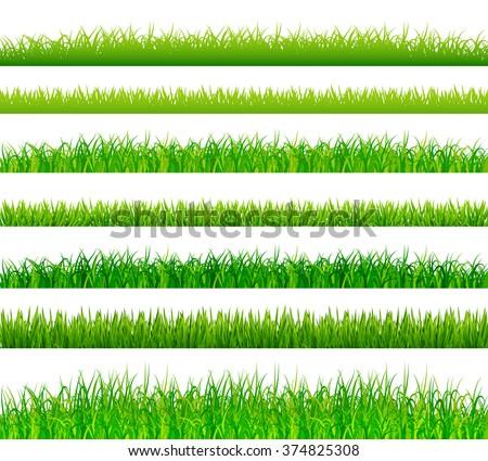 Green grass borders set vector - Shutterstock ID 374825308