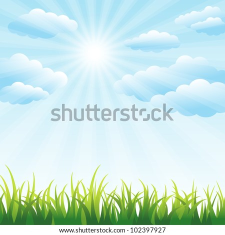 Green grass field and blue sky vector background with clipping mask