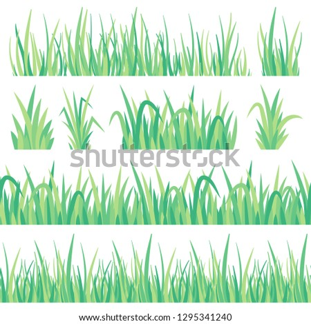 Green grass. Field herb, fresh garden meadow tuft turf and grass seamless banner. Lawn field turf green, hedge garden herbs grass. Lush foliage gardening isolated vector icons set