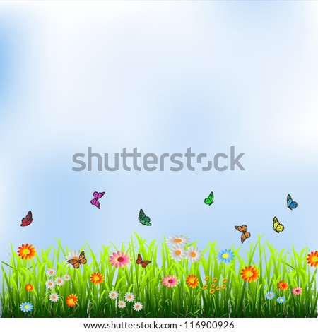Green grass, flowers and butterflies.Vector illustration