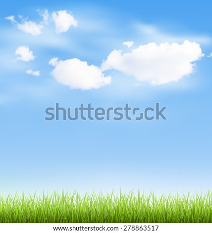 green grass lawn with clouds on