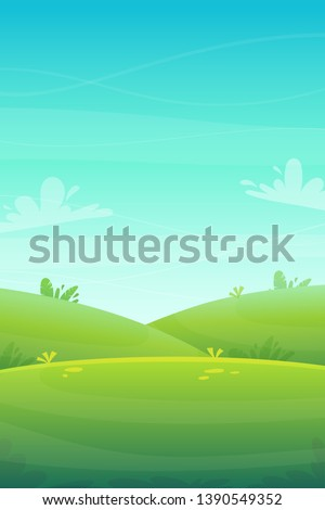 green grass meadow at park or forest trees and bushes flowers scenery background , nature lawn ecology peace vector illustration of forest nature happy funny cartoon style landscape ストックフォト ©