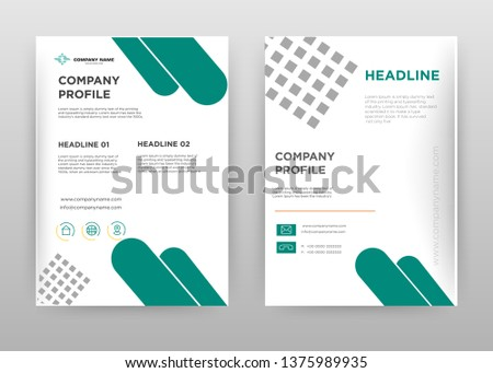 Green gray business brochure flyer design. Multipurpose abstract brochure template with cover & back pages. Geometric roud shapes and dotted rectangle leaflet vector design. Annual report presentation #1375989935