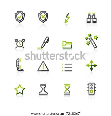 Green-gray contour admin icons