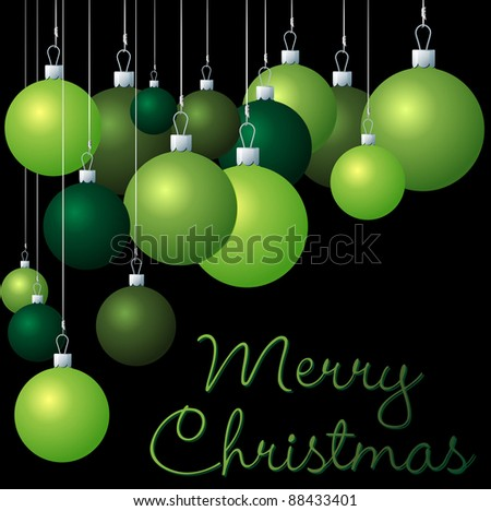 Green group of Christmas baubles in vector format.
