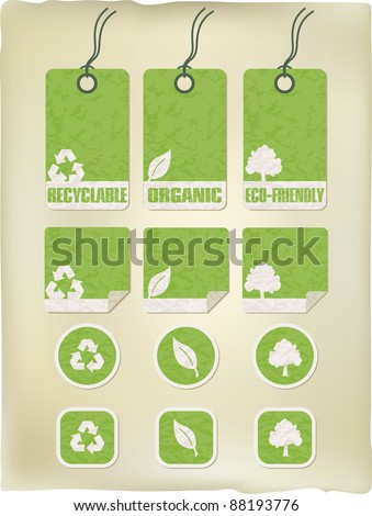 green grunge recycle tags and stickers