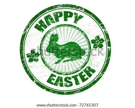 Green grunge rubber stamp with bunny silhouette and the text Happy Easter written inside the stamp