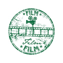 Green grunge rubber stamp with film strip, old camera shape and the word film written inside the stamp