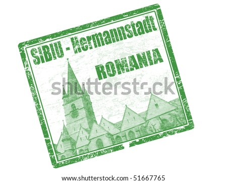 Green grunge rubber stamp with the building of tower gothic lutheran church Sibiu Transylvania Romania and the text sibiu hermannstadt written inside the stamp