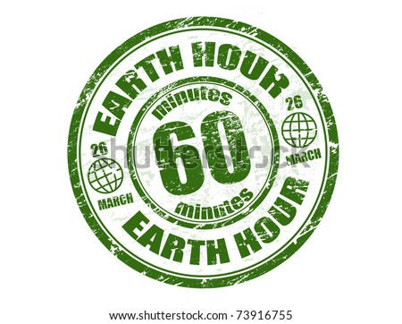 Green grunge rubber stamp with the text earth hour written inside the stamp