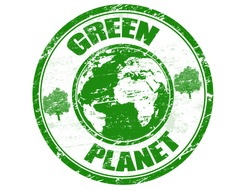 Green grunge rubber stamp with the text green planet written inside