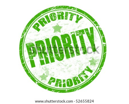 Green grunge rubber stamp with  the word priority written inside the stamp