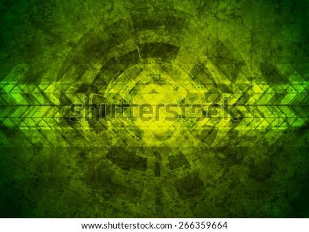 Green grunge tech geometric background. Vector design #266359664