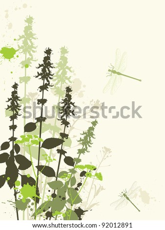 Green grunge vector background with wildflowers and dragonfly