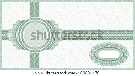 Green guilloche background for voucher, coupon or banknote