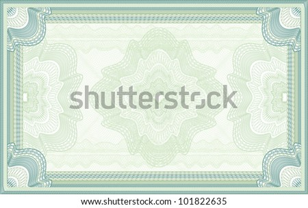 Green guilloche certificate, diploma or banknote background
