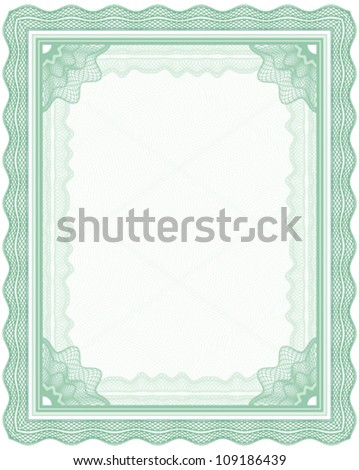 Green guilloche frame for certificate, diploma or banknote