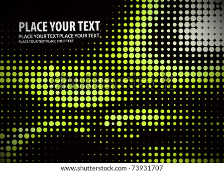Green halftone background on the black vector illustration. - stock vector