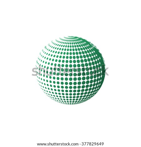 green halftone sphere